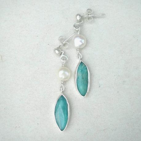 silver amazonite earring
