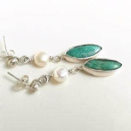 Teal green earrings amazonite, sterling silver, white pearl