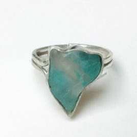 Custom size cat ring, amazonite, sterling silver