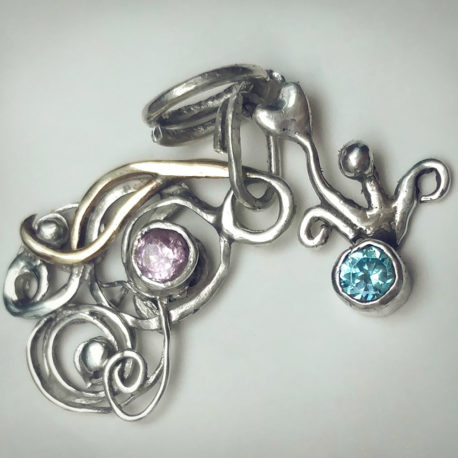 blue pink silver charms