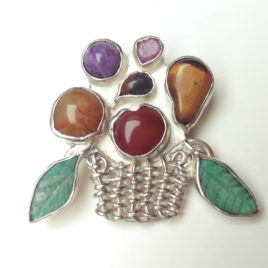 Fruit brooch, sterling silver multistone brooch tutti frutti