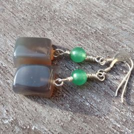 Gray green chalcedony earrings with chrysoprase beads