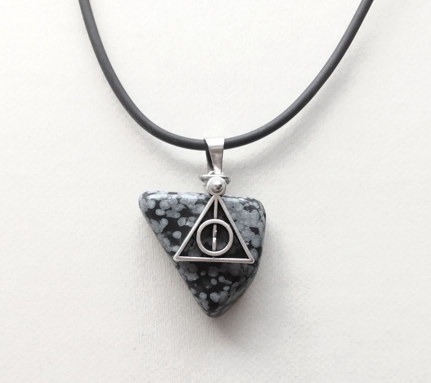 Black Deathly Hallows necklace, triangle snowflake obsidian, rubber chain