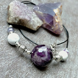 Large chevron amethyst bead necklace, howlite, agate, leather chain
