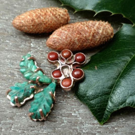 Christmas holly necklace copper, jasper, amazonite