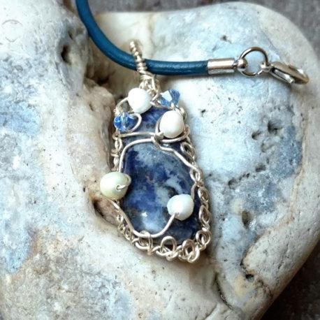 Blue denim lapis necklace