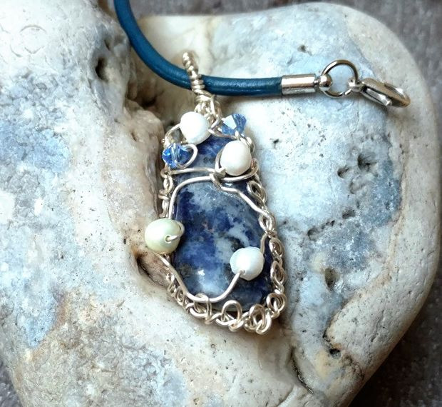 Blue denim lapis necklace, wire wrapped, pearls, crystals, leather