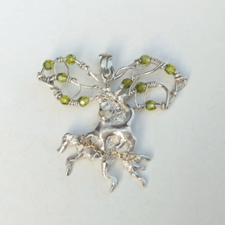 literary cat necklace, sterling silver, gold, green crystals