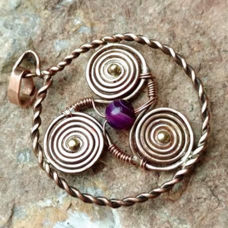 Copper triskelion necklace, purple agate