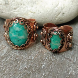 Copper couple rings boho style, matching stone amazonite