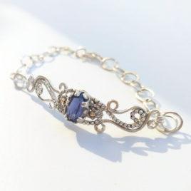 Iolite bracelet silver, filigree bracelet, chain bracelet silver
