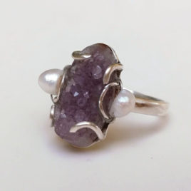 Amethyst druzy ring sterling silver, pearls