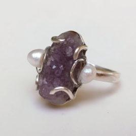 Zilveren ring amethist druzy, parels