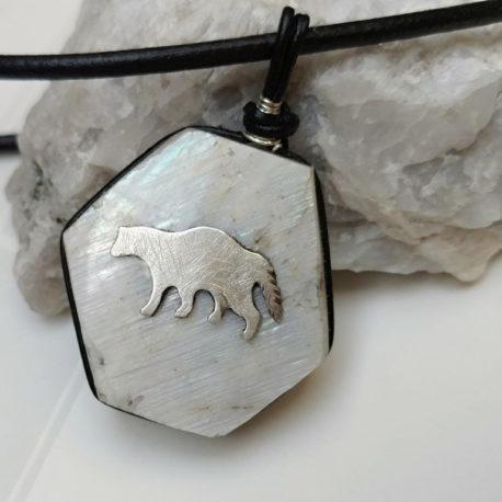 Silver wolverine animal necklace