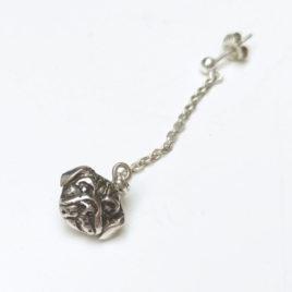 Pug earring, single earring sterling silver green jade, double-sided earring on chain