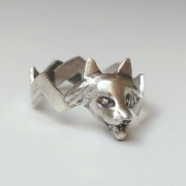 Wolf head ring sterling silver, zigzag ring custom size