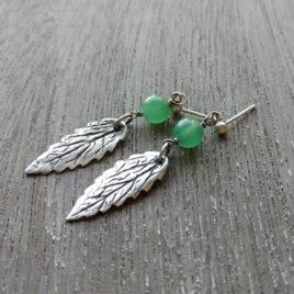 Precious metal clay leaf earrings, catnip, chrysoprase