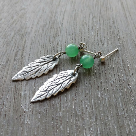 Precious metal clay leaf earrings