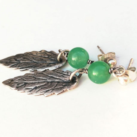 Precious metal clay leaf earrings with green chrysoprase bead