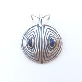 Two sapphire necklace fine silver, genuine sapphire