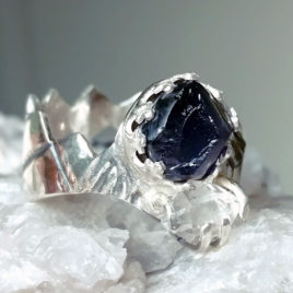 Raw iolite ring, herkimer diamond, sterling silver