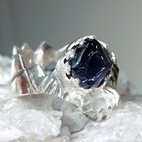 Raw iolite ring with Herkimer diamond