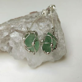 Chunky Fluorite crystal earrings, green fluorite chunks in 925 silver, chain dangles
