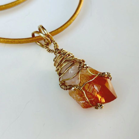 Pointed citrine crystal necklace
