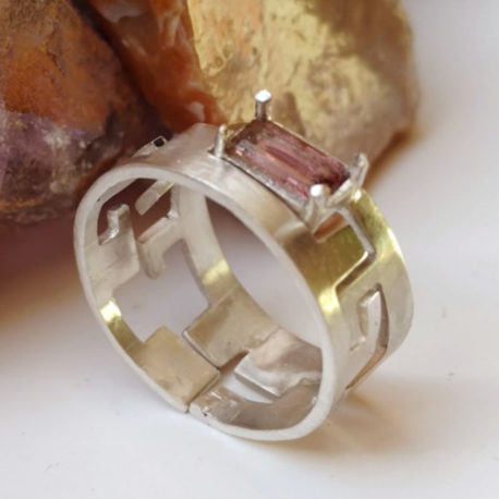 Puzzle stack ring tourmaline