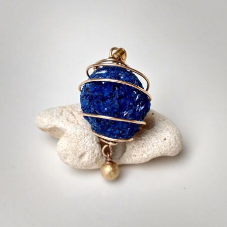 raw azurite necklace gold filled wire wrapped
