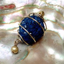 Raw azurite necklace gold filled wire, large azurite ball