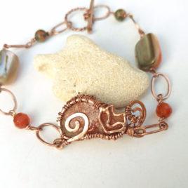 chain cat bracelet copper, sun stone, unakite, carnelian, pearl