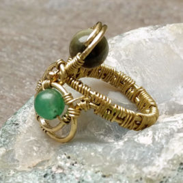 Infinity ring brass wire wrapped, two stone beads: hawks eye, chrysoprase