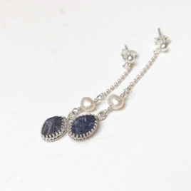 Raw iolite dangles, white pearl, sterling silver