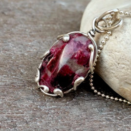 Tumbled rubellite necklace, pink tourmaline rubellite pendant on 925 silver ball chain