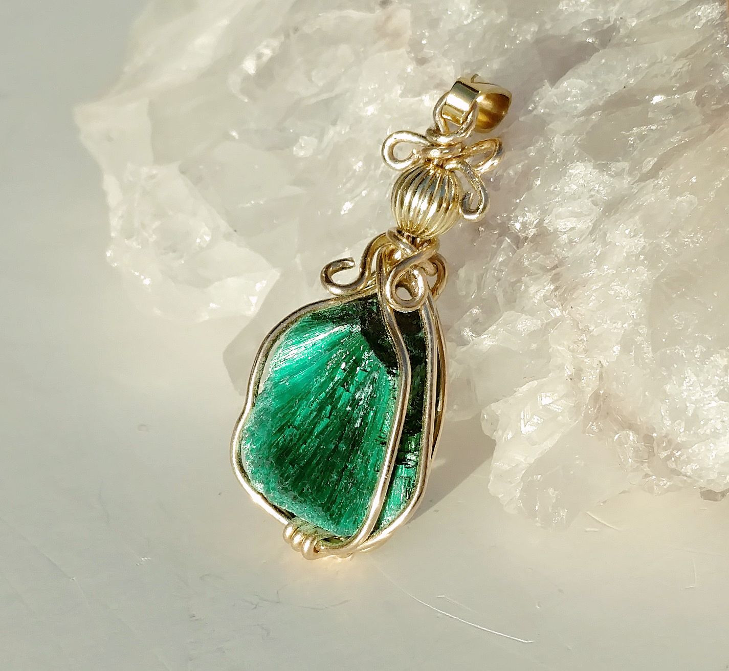Fibrous malachite necklace gold filled wire