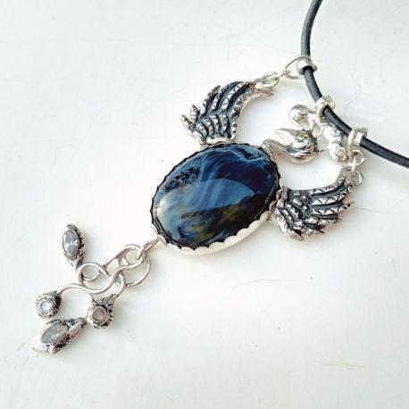 blue pietersite necklace