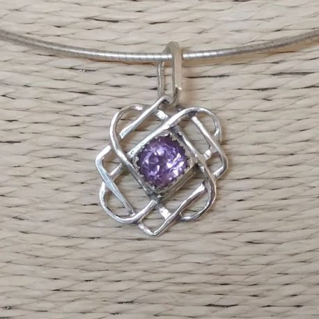 Star of Svarog amethyst charm, pendant, 925 silver