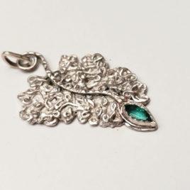 Fern leaf pendant fine silver emerald