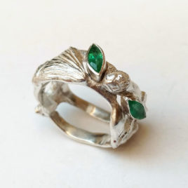 Pine tree forest ring with two genuine emeralds, fine silver