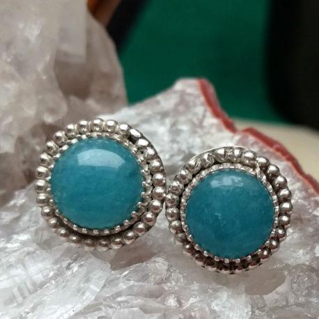 Aquamarine button studs silver