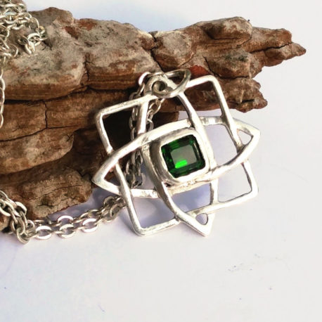 Slavic pendant chrome diopside in sterling silver