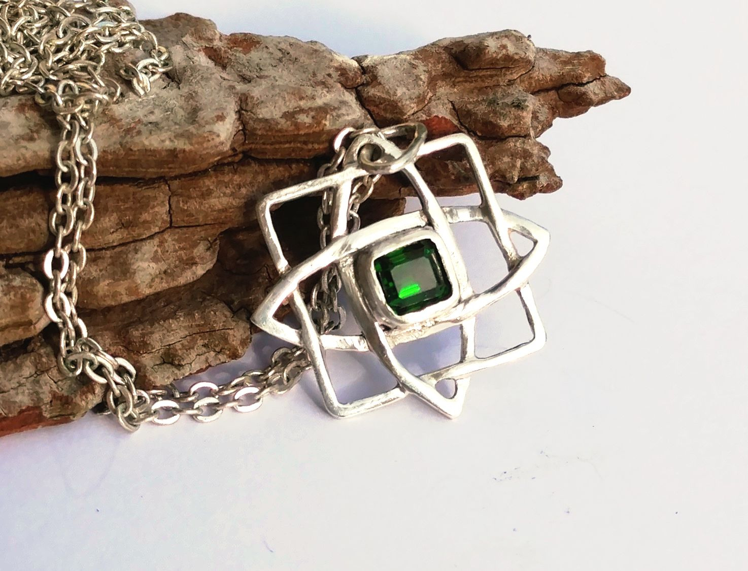 Slavic pendant chrome diopside in sterling silver