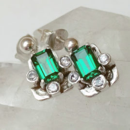 Rectangle emerald earrings, imitation diamonds, sterling silver