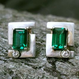 jera rune earrings genuine emerald
