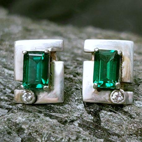 jera rune earrings genuine emerald