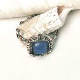Square blue chalcedony ring multi metal, silver, copper sized to order