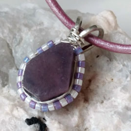 Sapphire pink corundum crystal necklace sterling silver, custom leather chain