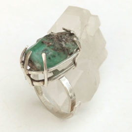 Large raw Russian emerald ring, sterling silver, custom size