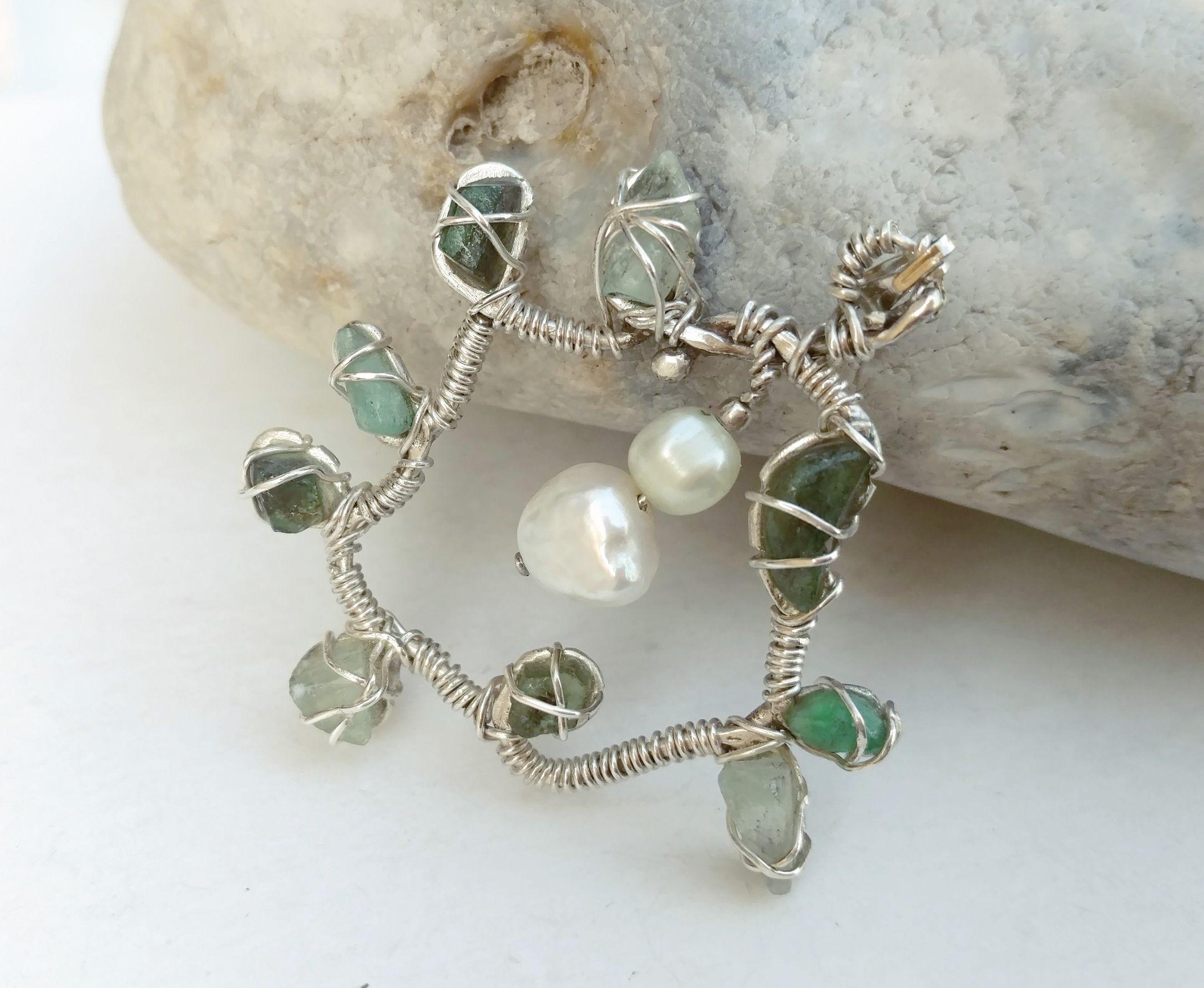 raw beryl pendant, emerald aquamarine crystals, pearl, silver